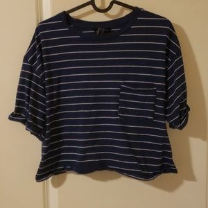Navy and White Striped Forever21 Crop Top